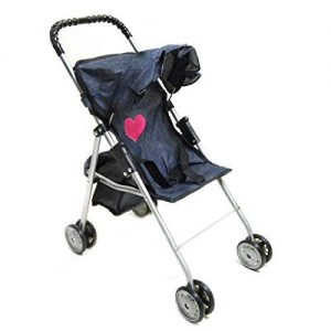 My First Doll stroller denim for baby doll by The New York Doll Collection | baby doll stroller walker