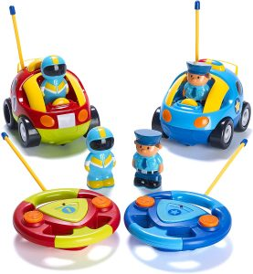 Prextex Pack of 2 Cartoon R/C Police Car and Race Car Radio Control Toys for Kids
