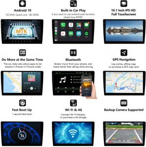Android 10 Radio with Bluetooth 5.0, Eonon 10.1 Inch Car Radio Android Head Unit Car Stereo with Navigation