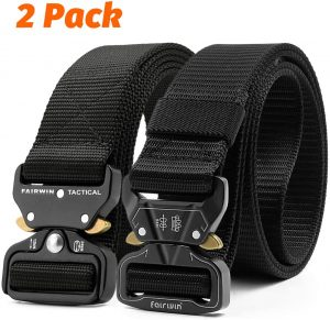 Fairwin Tactical Belt, 2 Pack 1.5 Inch Military Tactical Belts for Men