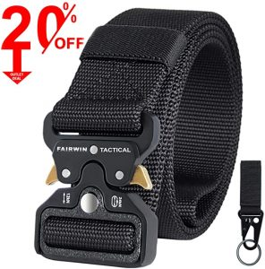 Fairwin Tactical Belt, Military Utility Belt Nylon Web Rigger Belt with Heavy-Duty