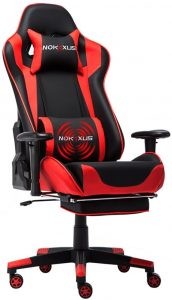 Large Size High-Back Ergonomic Racing Seat with Massager Lumbar Support and Retractible Footrest chair