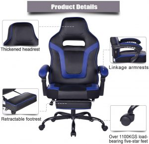 gaming chair with footrest and massage