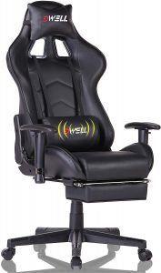 High Back Computer Gaming Chair, Racing Style Ergonomic Chair PU Leather Desk Chair with Headrest and Massage Lumbar Support