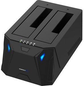 Dual Bay External Hard Drive Docking Station for 2.5 or 3.5in HDD, SSD with Hard Drive Duplicator/Cloner Function