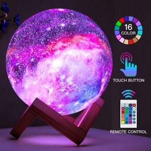 LED 3D Star Moon Light with Wood Stand