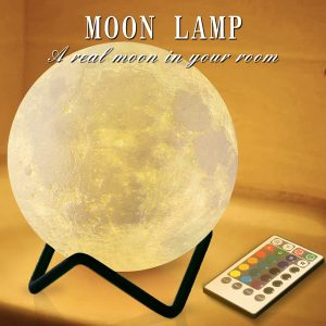 Timer Remote Control Moon Lamp