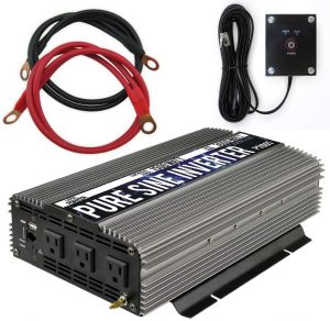 Pure Sine Wave Power Inverter 12V DC to 120 V AC with 3 AC Outlets