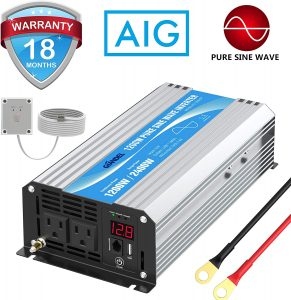 1200Watt 12V DC to 110V 120V inverter with Remote Control Dual AC Outlets