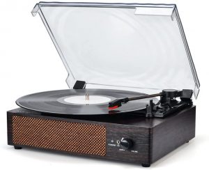 3-Speed Belt-Drive Turntable Vinyl Record Player with Speakers