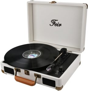 White Record Player 3 Speed Portable Turntable Suitcase
